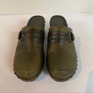 Ecco Leather Studded Mules—Olive Green